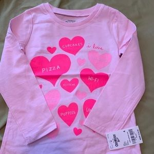 Shirt Long sleeves with harts size 4T NWT Carters